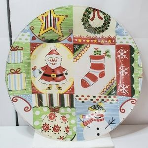 Christmas Holiday Theme Glass Serving Plate